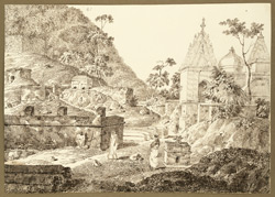 A group of old and new Hindu temples at Rajgir (Bihar). 20 December 1824
